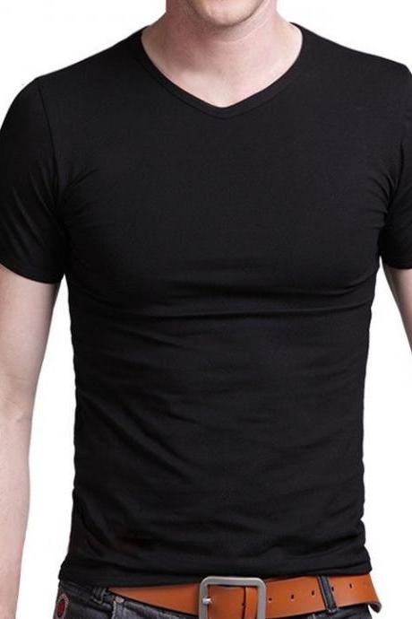 Men's Solid Color V-neck Short Sleeve T-shirt Tight Slim