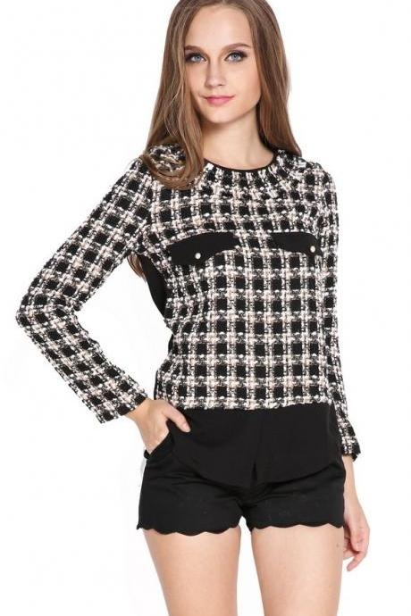 Stylish Women's Fashion Elegant Grid Pattern Splicing Long Sleeve Shirt Tops Blouse