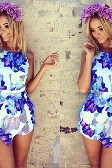 Sexy Women Floral Print Playsuit Summer Ladies Jumpsuit