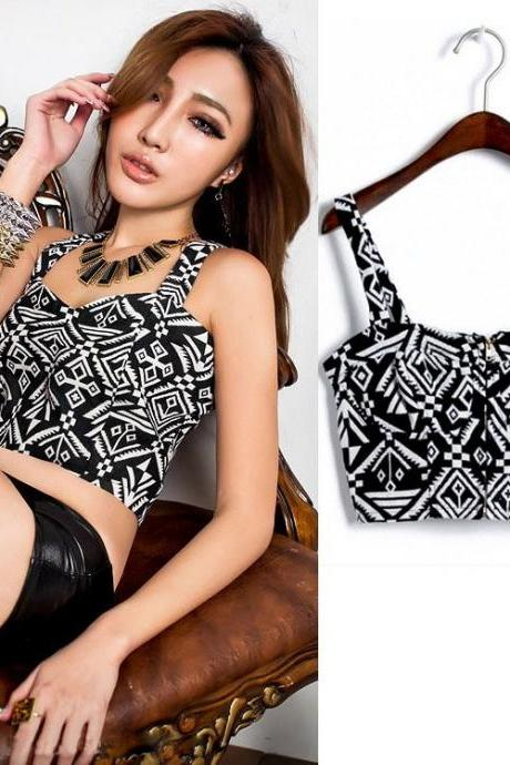Womens ladies Beautiful Sexy Printed Zipper Front Crop Top