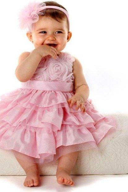 New Pink Girls Kids One Piece Pink Princess Dress Tutu Dress