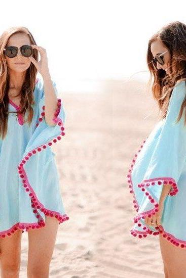 Stylish Lady Sexy Women's V-neck Chiffon Beach Mini Dress Pullover Cloak Cape Wraps Swim Cover-ups