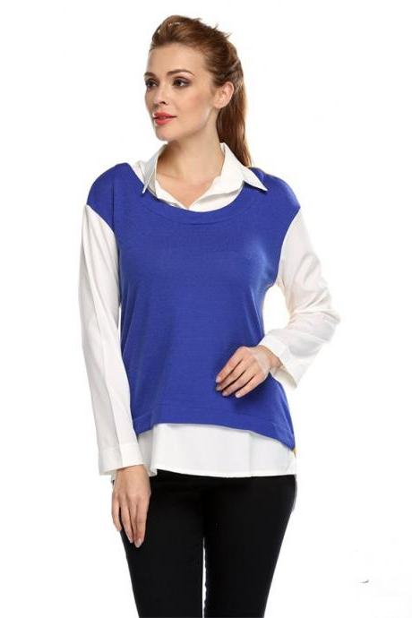 Stylish Lady Women's Casual Long Sleeve Lapel Patchwork Shirt Blouse Tops