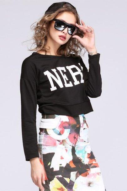 Womens Chic Hip Hop Cropped Tops Sweater Long Sleeve Blouse Tee
