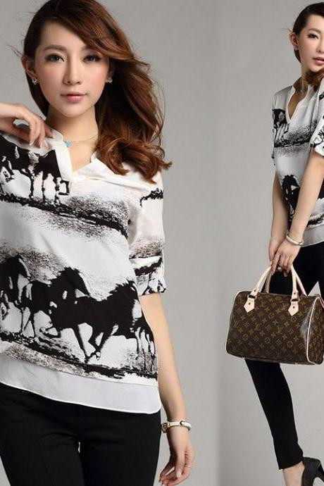 Elegant Fashion Women's Ink Horse Print Blouse Casual Retro Shirt Slim High Quality Tops 3 Sizes