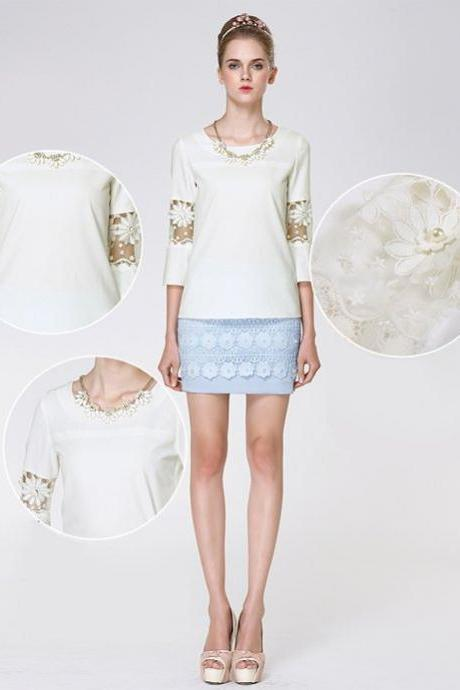 New Casual White Women's Top Hollow Lace Sleeve Flower Chiffon Blouse Ladies Shirt