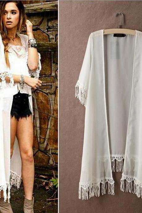 New Fashion Women Half Sleeve White Long Chiffon Coats Sun Block Loose Dress Coat Beach Street Casual Wear