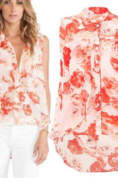 New Lady Women Chiffon Shirt Fashion Casual Elegant Blouse Top Floral Print Sleeveless Shirt