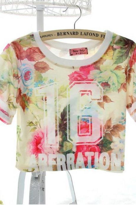 Hot Sexy Women Pattern Print Stylish Short T-shirt Tops Blouse