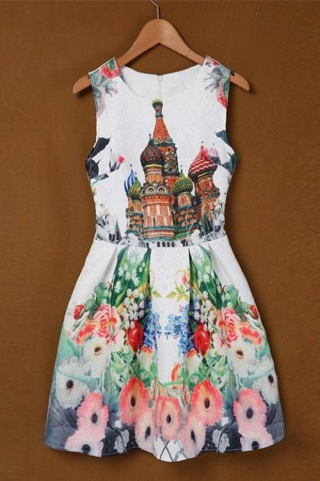 Hot Fashion Women Ladies O-Neck Sleeveless Sundress Print Slim Casual Party Mini A-line Dress
