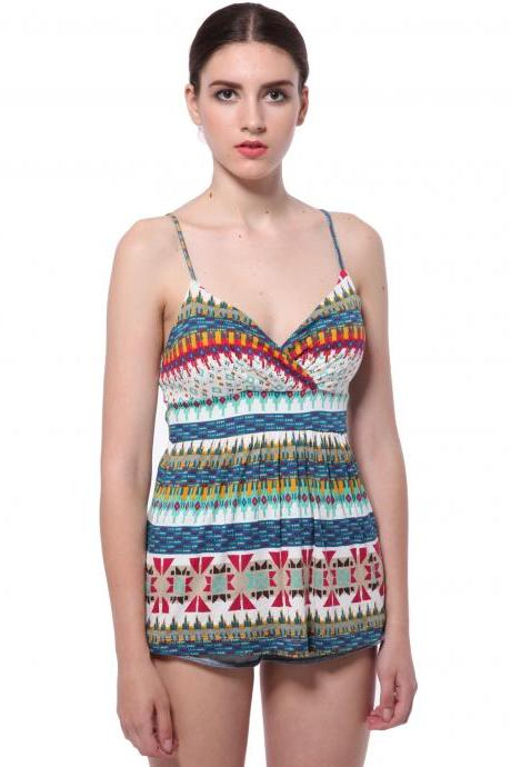 Bohemian Style Colorful Stripe Strap Gallus Summer Tank Top