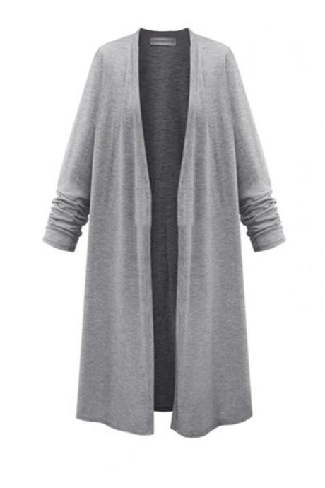 Long Sleeve Open Front Plain Cardigan