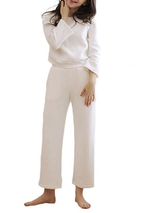 Women's Home Suit Sweet Style Warmth Long Sleeve Winter Home Wear Suit