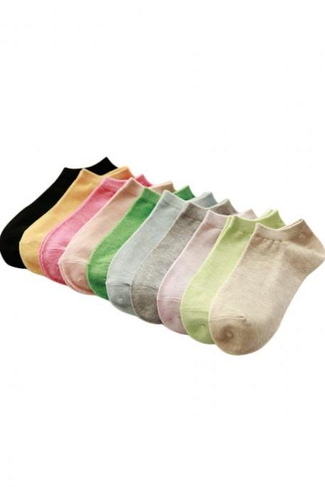 Women's 5 Pairs Casual Solid Anti-Odor Breathable Ankle Socks
