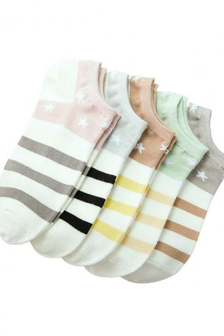 Women's 5 Pairs Striped Causal Ankle Socks