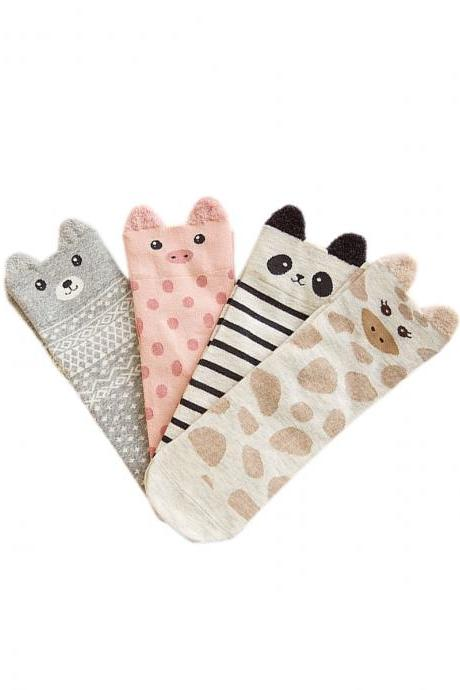 Women's 4 Pairs Cute Animal Graphic Breathable Crew Socks