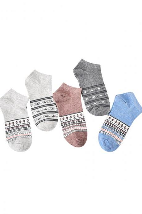 Women's 5 Pairs Striped Print Causal Cotton Blends Ankle Socks