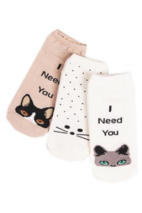 Women's 3 Pairs Sweet Girl Cute Cat Anti-Odor Ankle Socks