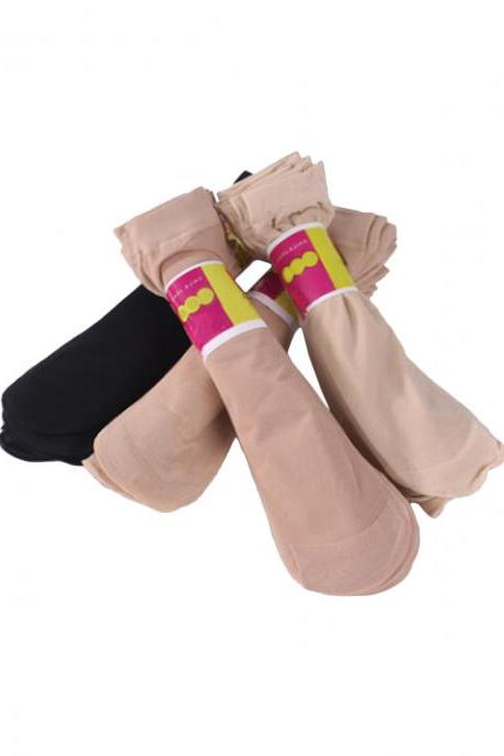Women's 10 Pairs Thin Solid Color Sheer Socks