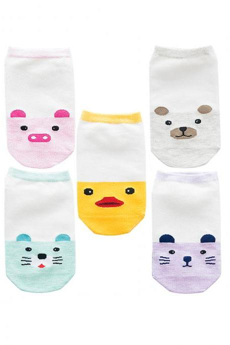 Women's 5 Pairs Cartoon Animal Head Print Ankle Socks