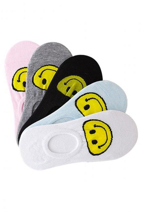 Women's 5 Pairs Smiling Face Anti-Slip Ankle Socks