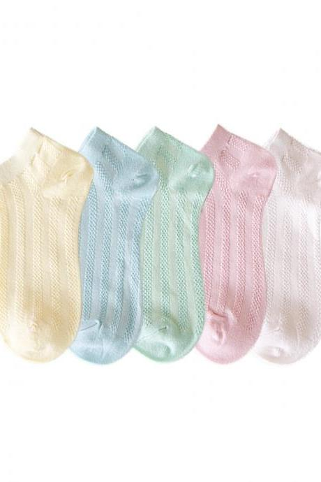 Women's 5 Pairs Candy Color Causal Ankle Socks