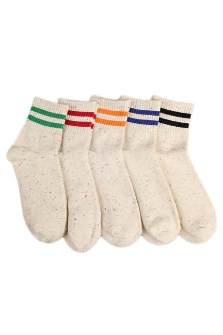 Women's 5 Pairs Two-Lines Print Causal Anti-Odor Socks
