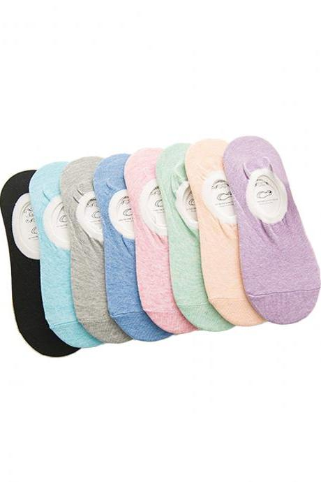 Women's 5 Pairs Candy Color Silicone Anti-Slip Ankle Socks