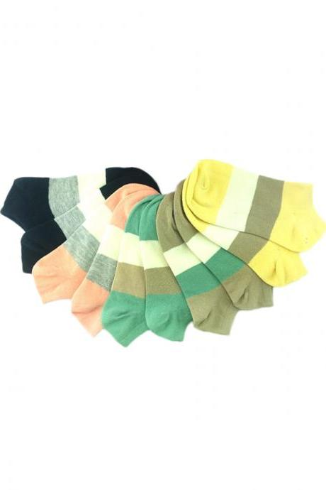 Women's 5 Pairs Color Block Anti-Odor Cotton Blends Ankle Socks
