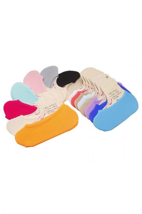Women's 5 Pairs Candy Color Anti-Slip Ankle Socks