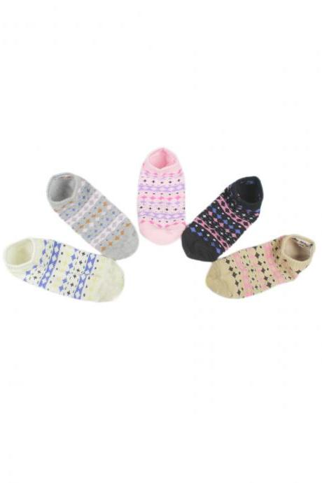 Women's 5 Pairs Breathable Anti-Odor Print Ankle Socks