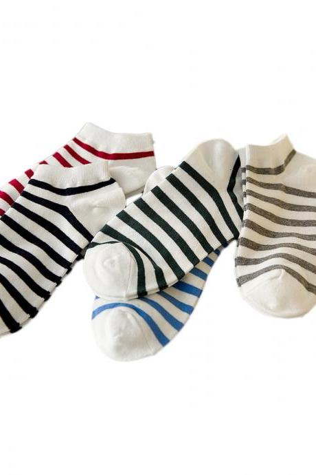 Women's 5 Pairs Stripes Print Causal Cotton Blends Ankle Socks