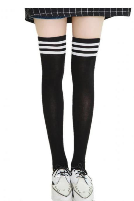 Women's Stripes Soft Comfortable Over Knee High Socks