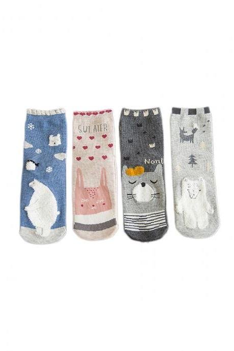 Women's 4 Pairs Sweet Girl Cartoon Cute Animal Anti-Odor Crew Socks
