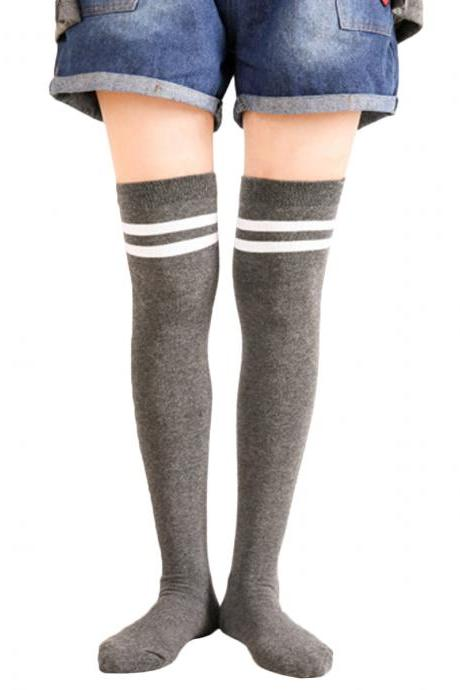 Women's Preppy Style Stripes Warm Cotton Knee High Socks