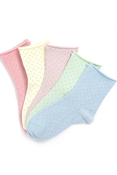 Women's 5 Pairs Polka Dot Hemming Candy Color Causal Cotton Socks