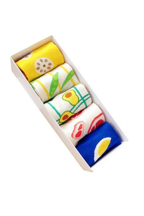 Women's 5 Pairs Gift Box Colorful Food Print Causal Ankle Socks