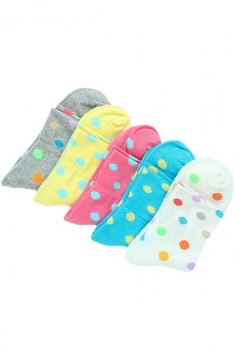 Women's 5 Pairs Revers Colorful Dot Print Cotton Socks