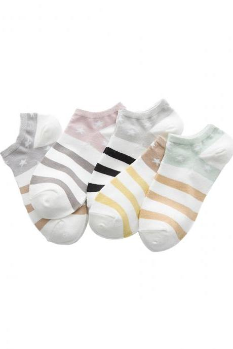 Women's 5 Pairs Sweet Stripes Stars Print Ankle Socks