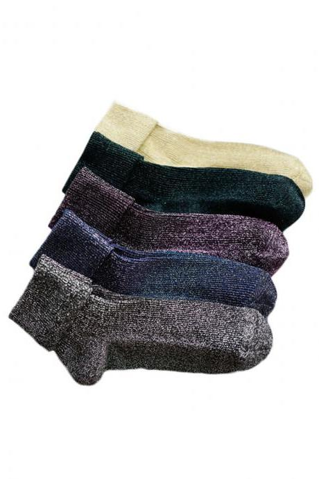 Women's 3 Pairs Knitting Wool Turn-Up Winter Crew Socks