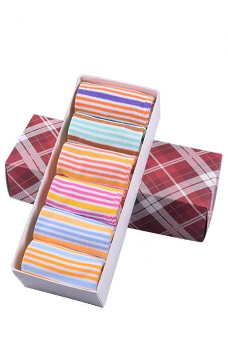 Women's 6 Pairs Gift Box Striped Five Toe Ankle Socks