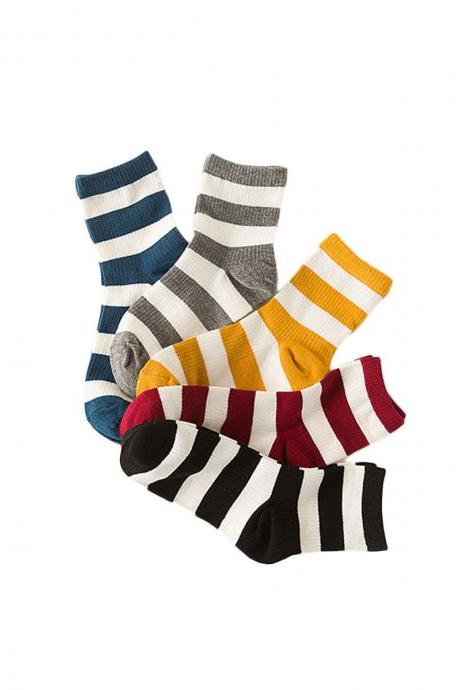 Women's 5 Pairs Candy Color Stripe Breathable Anti-Odor Socks