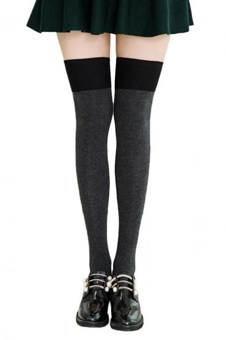 Women's Preppy Style Color Patchwork Knee High Socks