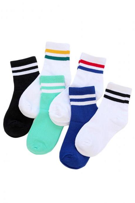 Women's 5 Pairs Two-Lines Causal Anti-Odor Cotton Socks