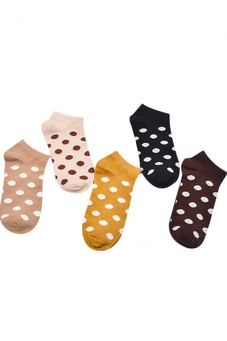 Women's 5 Pairs Dot Print Thin Ankle Socks