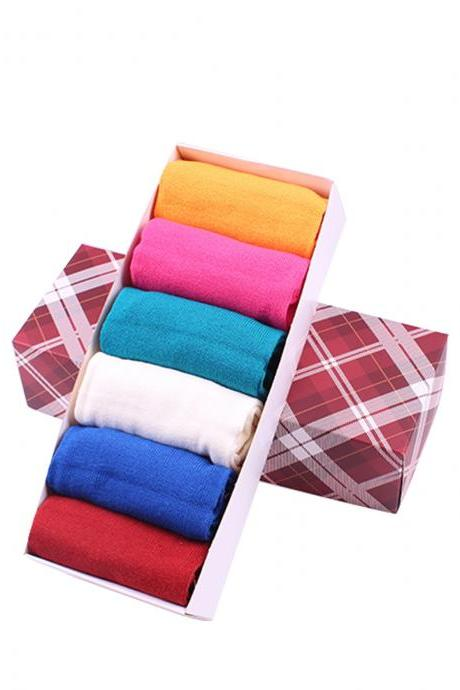 Women's 6 Pairs Gift Box Solid Color Anti-Odor Five Toe Socks