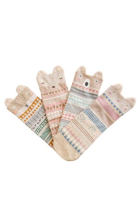 Women's 4 Pairs Cute Little Fox With Stereo Ear Anti-Odor Crew Socks