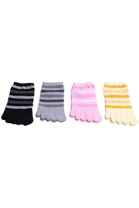 Women's 4 Pairs Stripes Breathable Cotton Five-Toe Ankle Socks