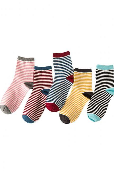 Women's 5 Pairs Candy Color Stripe Breathable Causal Socks