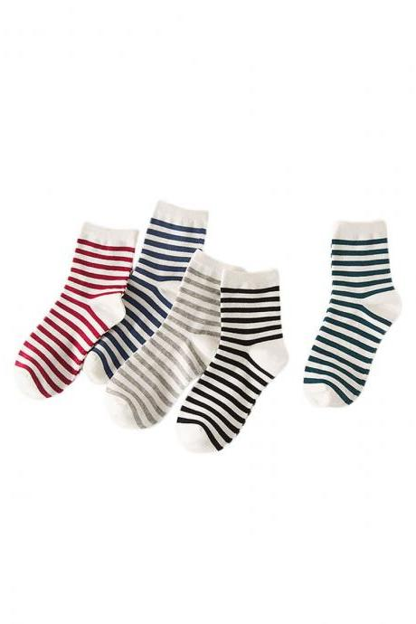 Women's 5 Pairs Stripe Breathable Casual Anti-Odor Socks